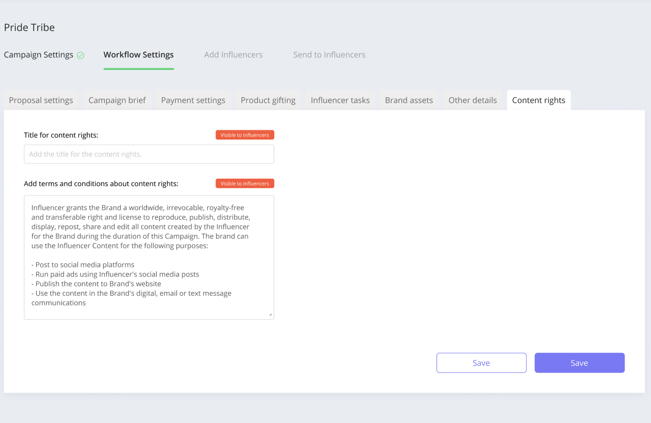 Affable lets you configure Content Rights with the Influencers