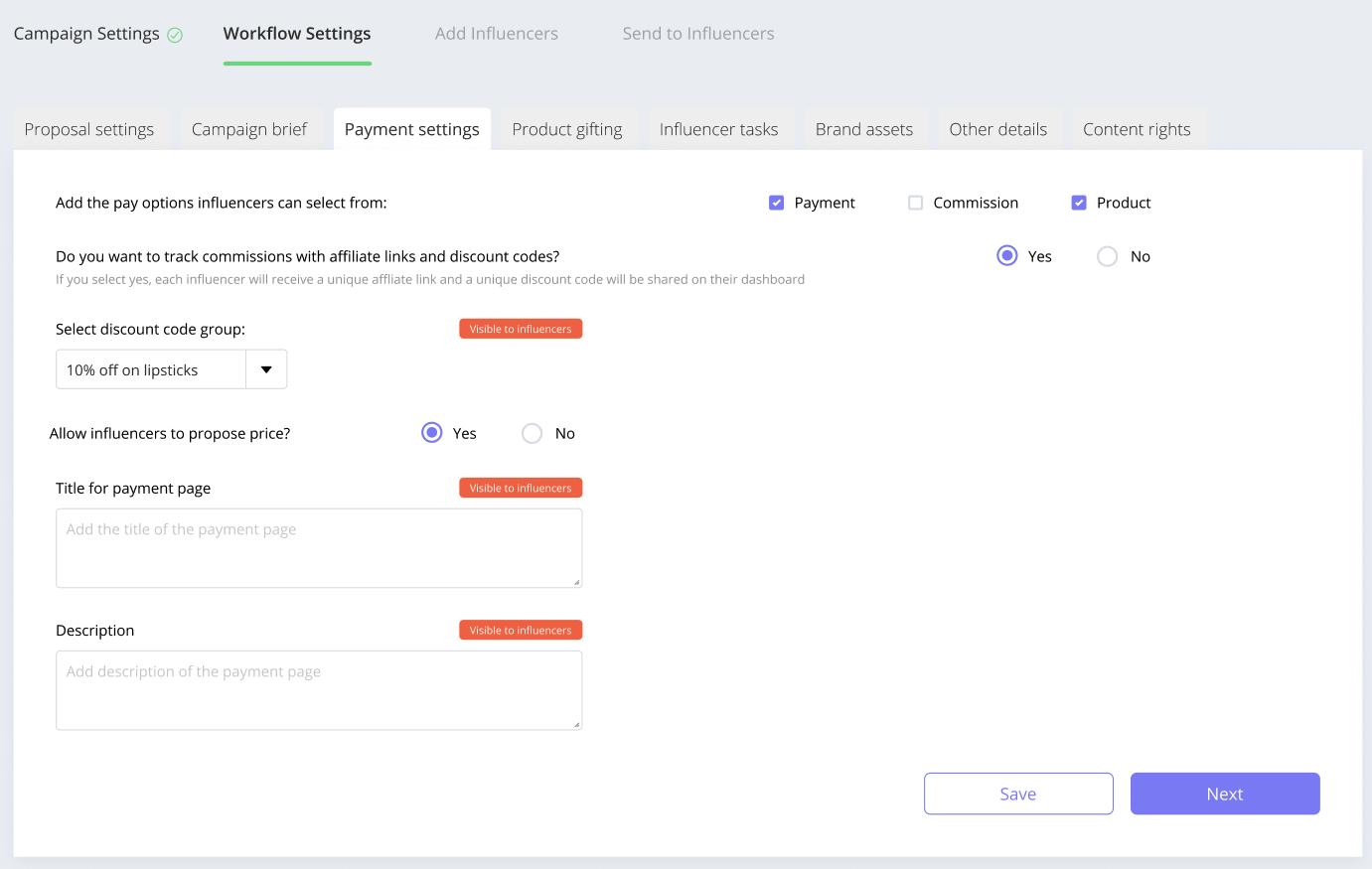 Affable lets you configure your campaign payment options