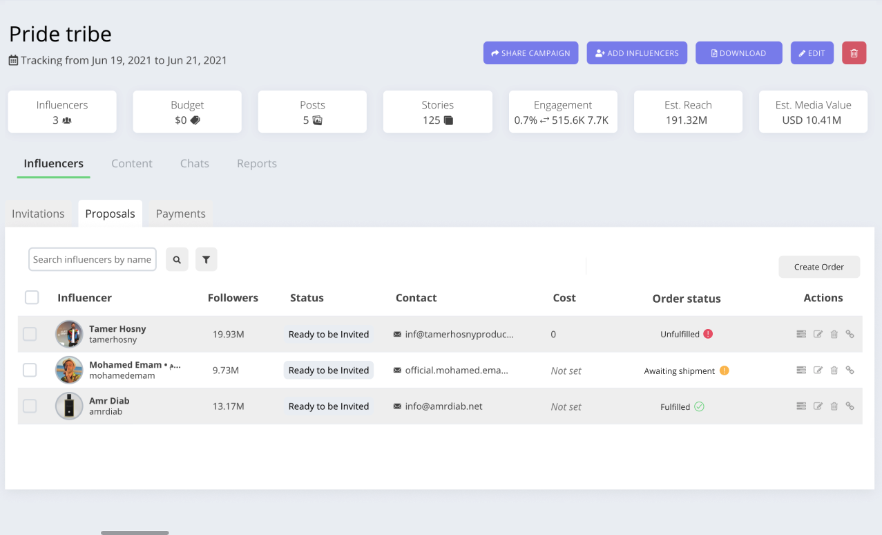 Affable lets you review proposals received from Influencers.
