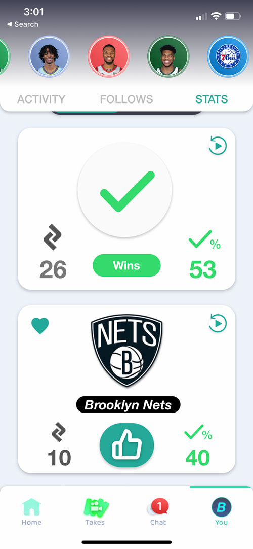 User Interface of the Takeside App Showing a user tracking their wins and losses