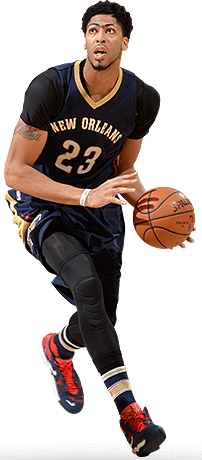 Anthony Davis of the NO Pelicans Dribbling
