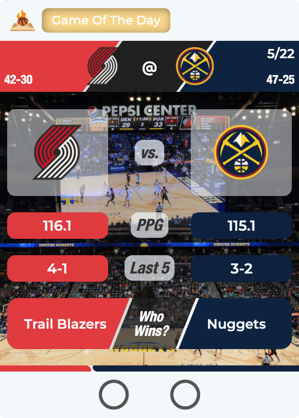 Takeside's Game of the Day! The Portland Trailblazers Against The Denver Nuggets. Who will win?