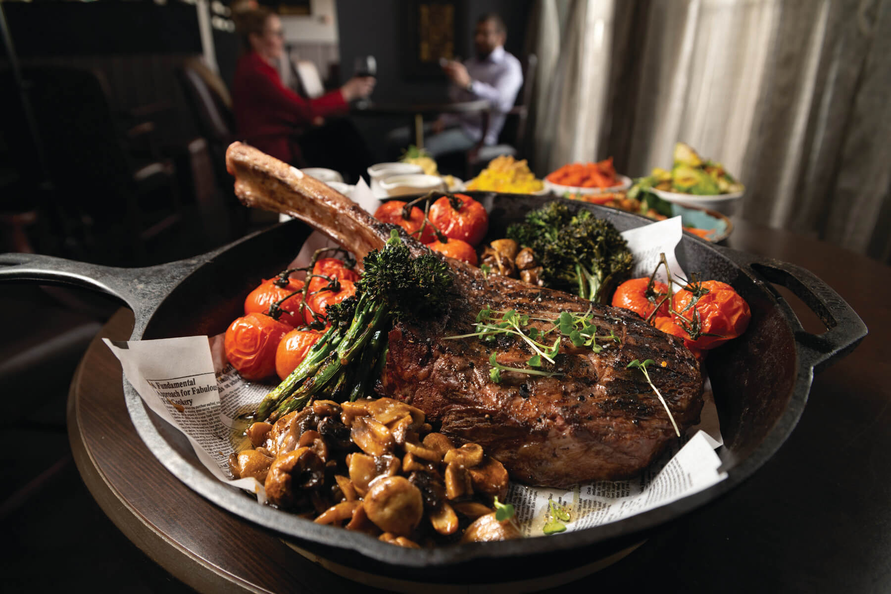 The Tomahawk Ribeye offered by Redwood Steakhouse in the Medicine Hat Lodge.