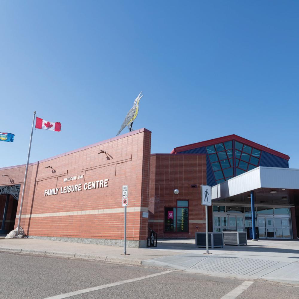 Exterior photo of Medicine Hat Family Leisure Centre.