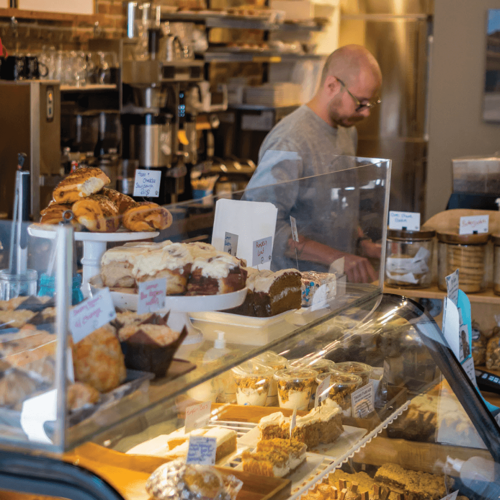 Enjoy a cup of coffee or something sweet at Station Coffee Co. on 2 St. SE.