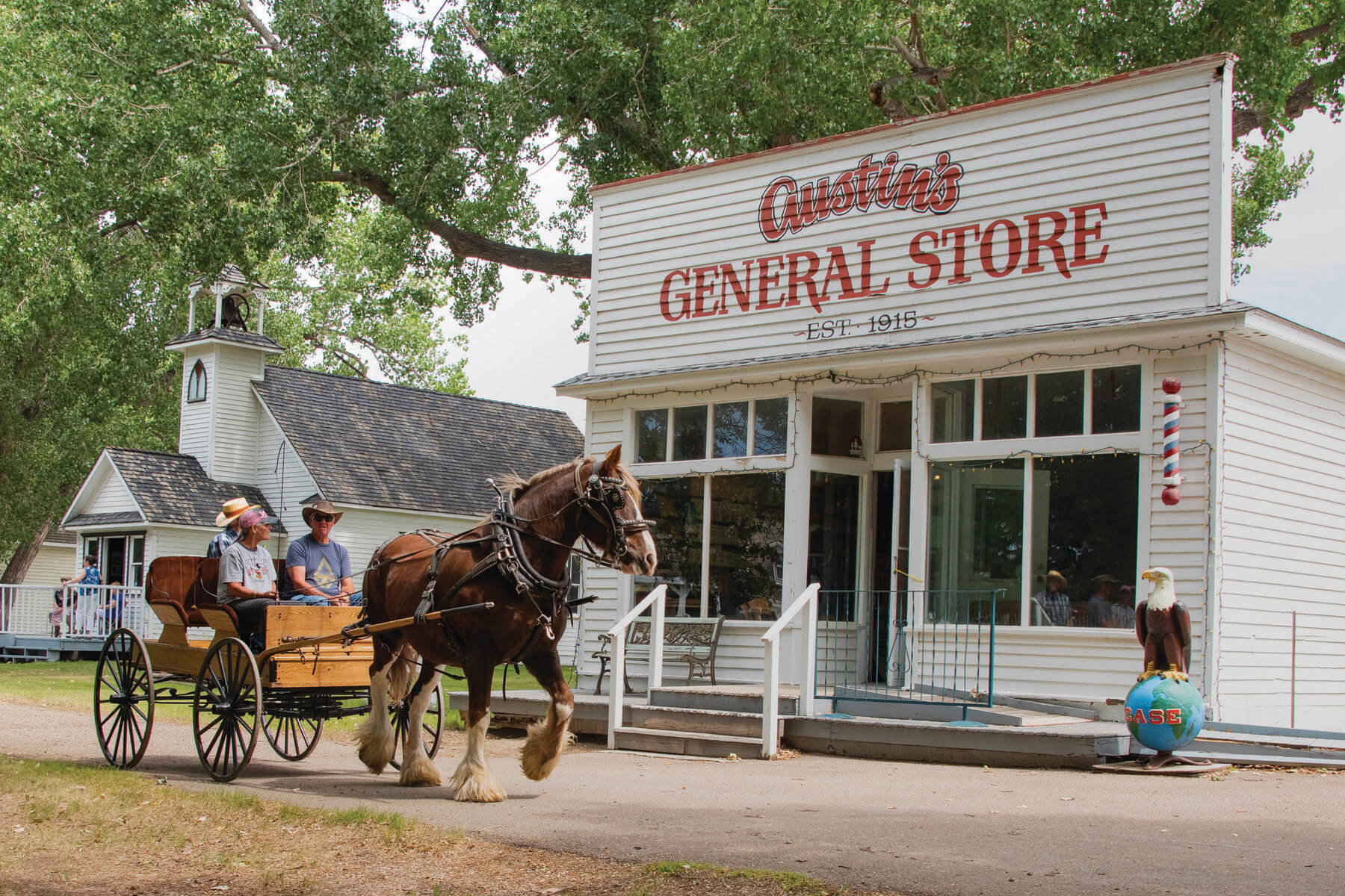 A cart and horse ride by the General Store at the Medicine Hat Exhibition grounds.