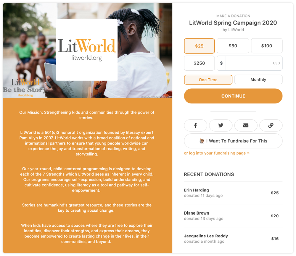 LitWorld Campaign Page's Default Template showcasing logo, mission statement and customized preset donation amounts. This Spring Campaign 2020 has raised $40,000+.