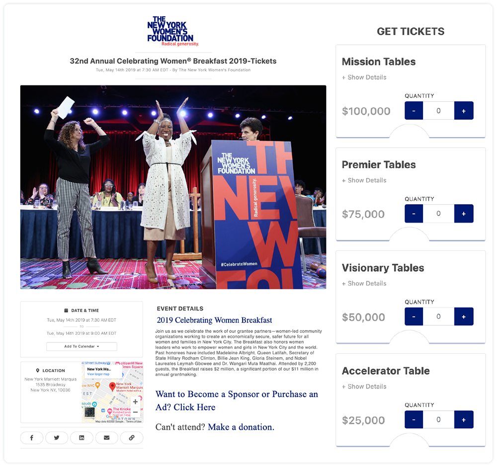 New York Women's Foundation Event Ticketing Page