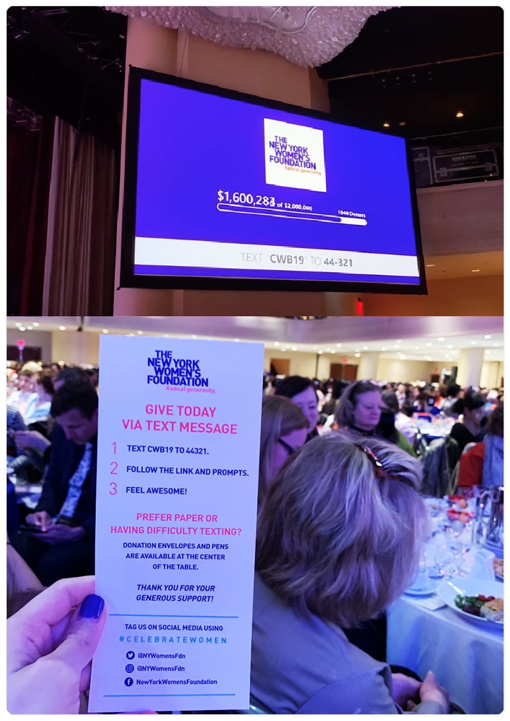 """The New York Women's Foundation Text-to-Donate and Live Display in action during their Annual """"Celebrating Women Breakfast"""", where printed materials and our Live Display encourage donations."""