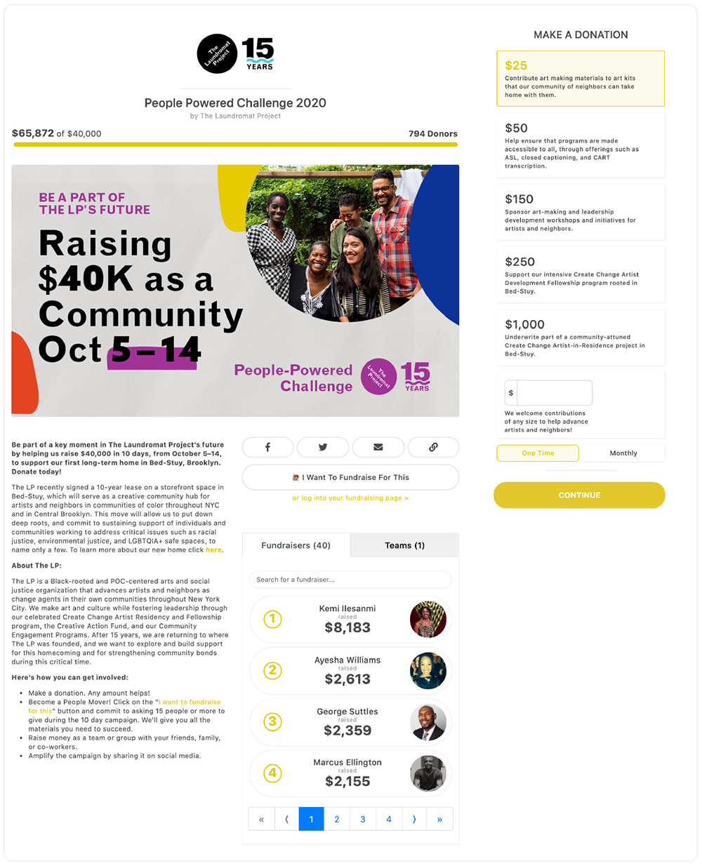 """The Laundromat Project """"People-Powered Challenge"""" Page including 40 individual fundraisers each with a Peer-to-Peer Fundraising page"""