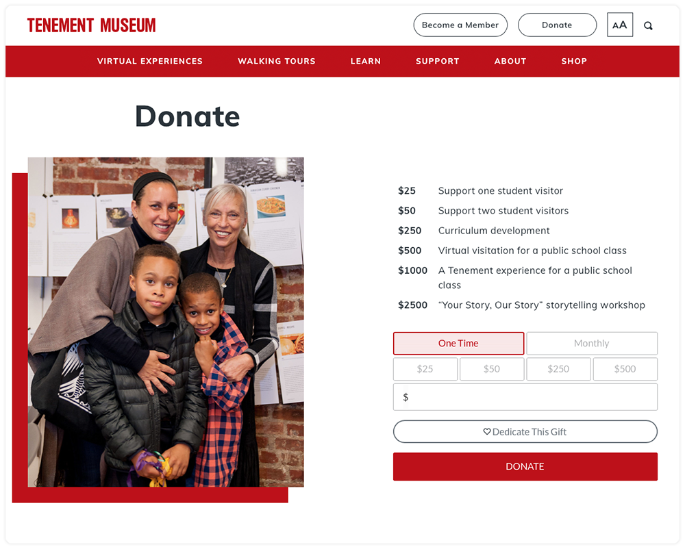 The Tenement Museum website displaying Give Lively's Simple Donation Widget