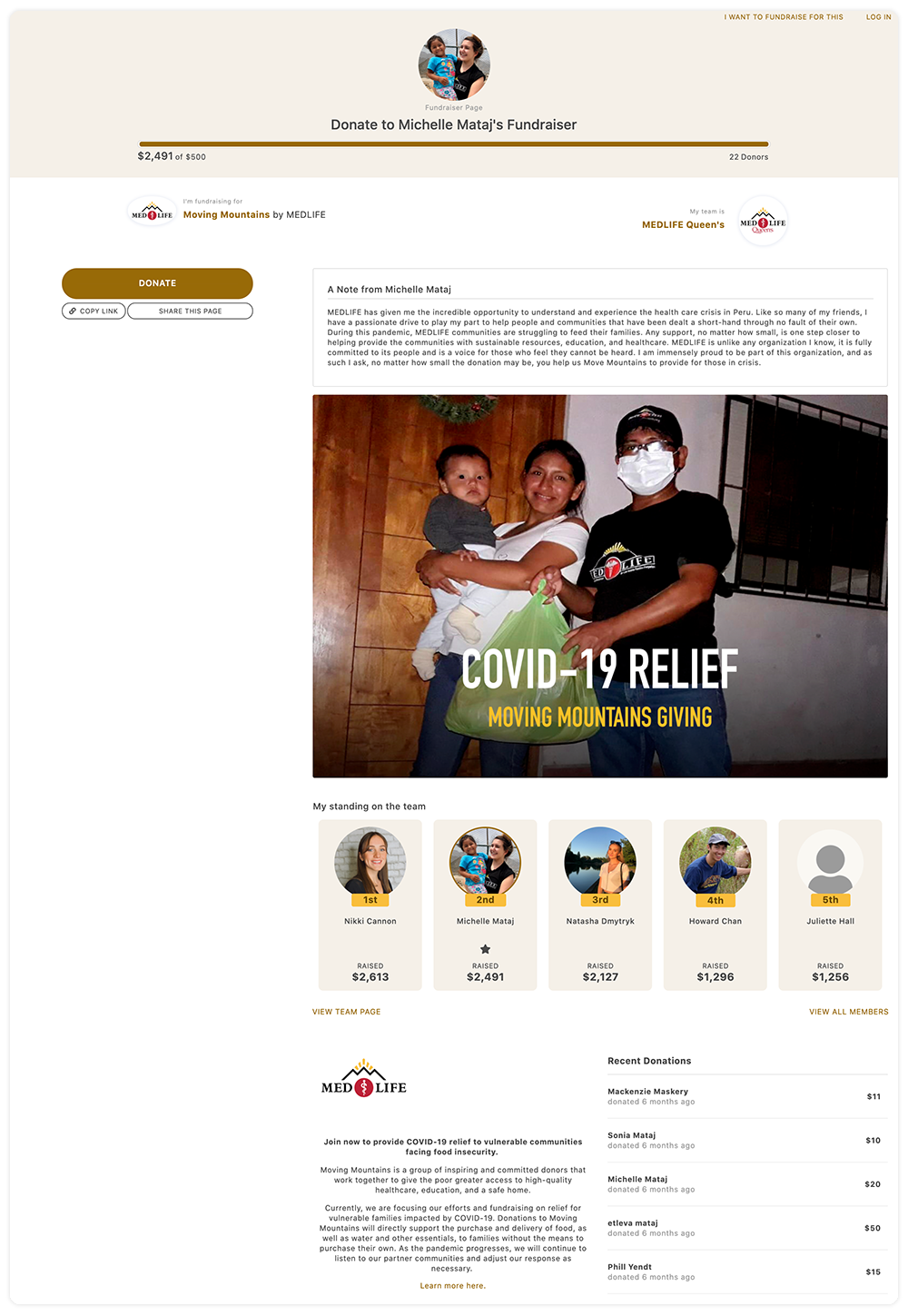 """MEDLIFE """" Moving Mountains"""" individual Peer-to-Peer Fundraising page"""