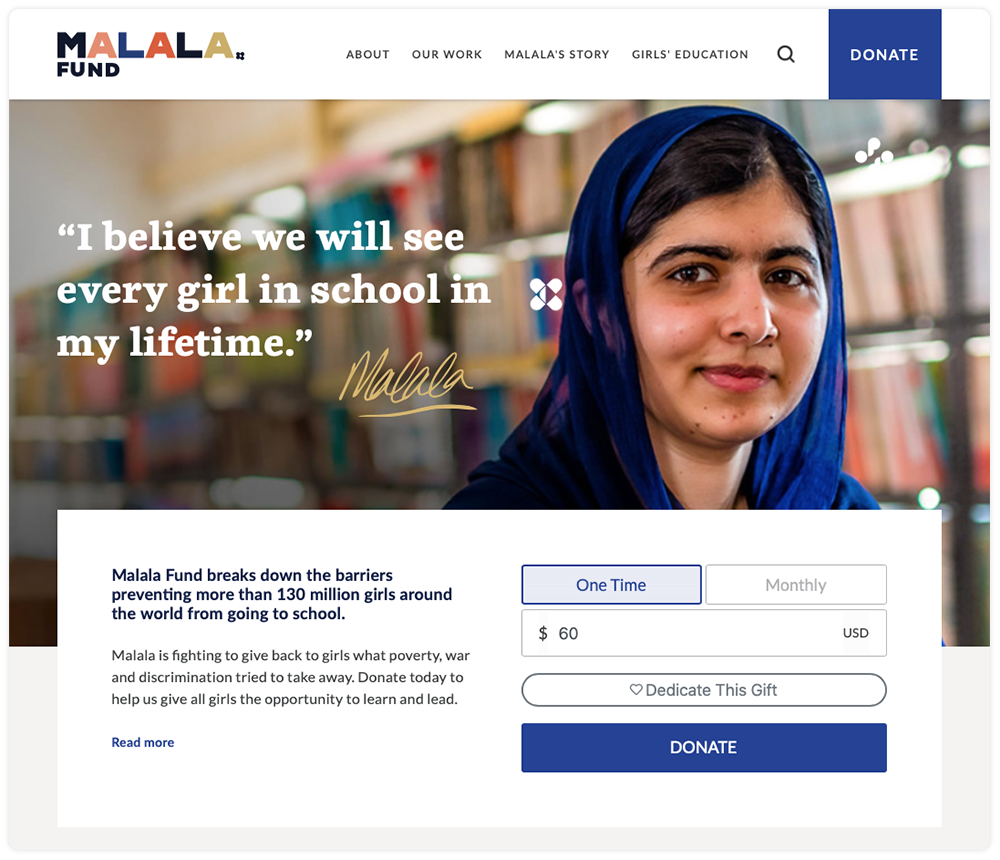 Malala Fund Website displaying Give Lively's Simple Donation Widget
