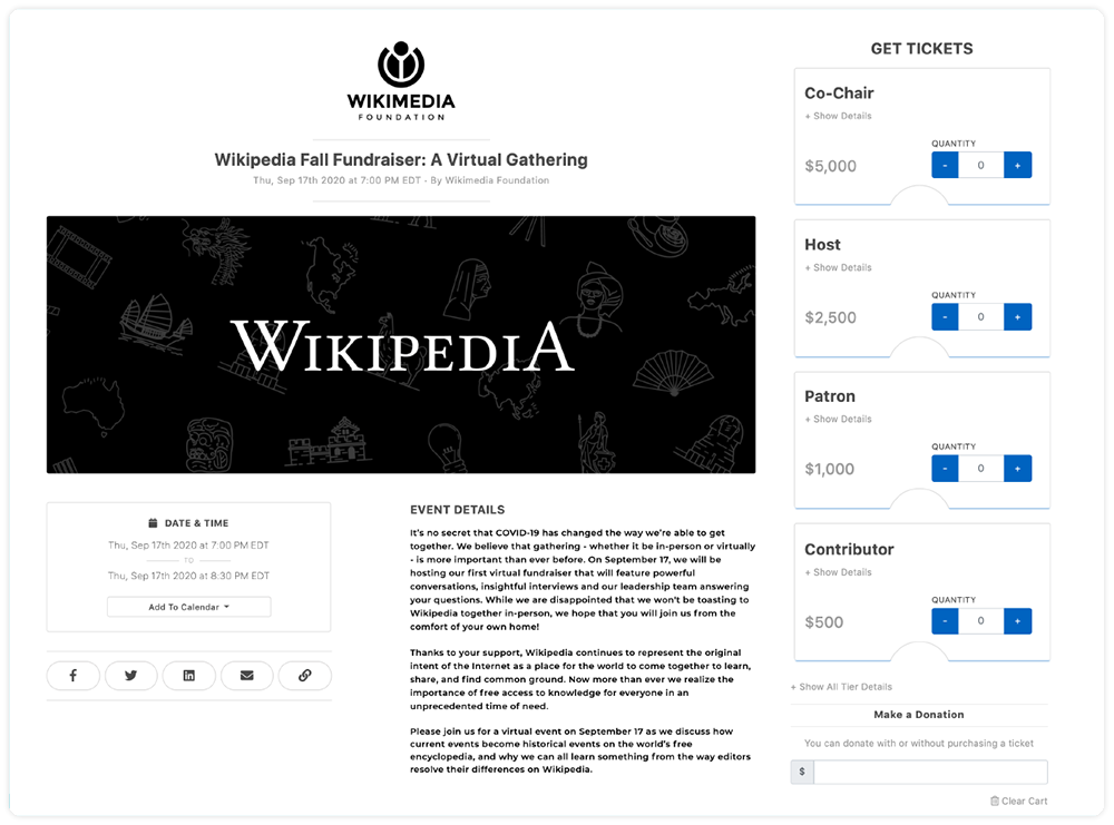 """Wikimedia Foundation Event Ticketing page """"Fall Fundraising: a virtual gathering"""""""