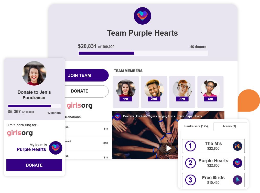An example of several Peer-Based Fundraising Products: Team Page in desktop, peer-to-peer page on mobile, and a leaderboard.