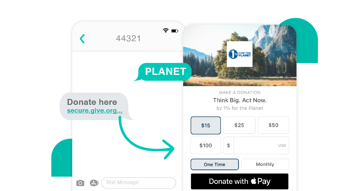 """Example of Give Lively Text-to-Donate nonprofit member """"1% for the Planet"""""""