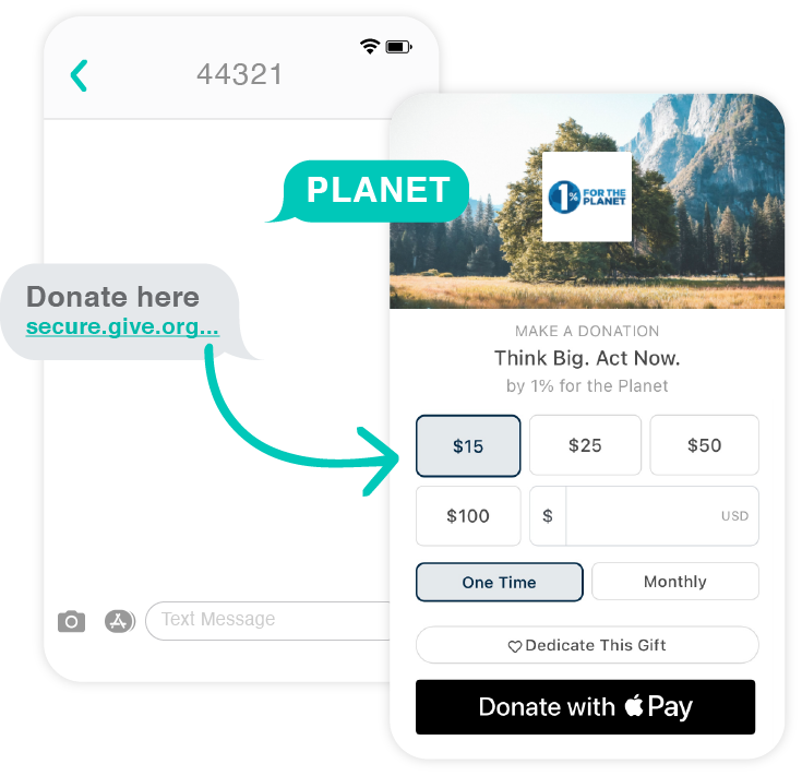 """Give Lively Text-to-Donate example from our nonprofit member """"1% for the Planet"""""""