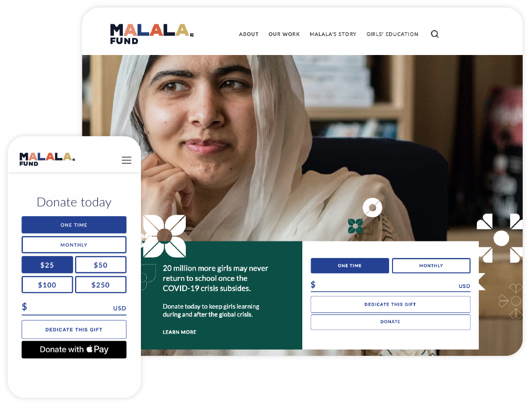"""Give Lively example of a nonprofit member """"Malala Fund"""" showcasing our simple donation widget on their website"""