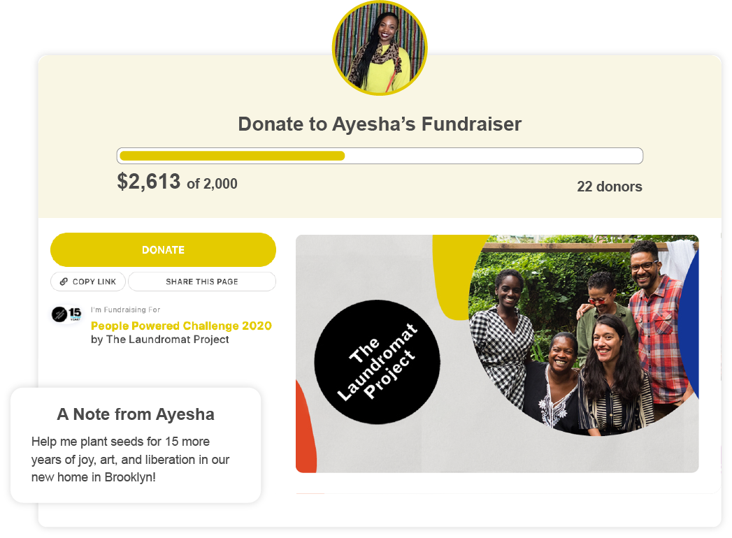 """Example of a Give Lively's nonprofit member Peer-to-Peer page titled """"Donate to Ayesha's Fundraiser"""" including a picture of the fundraiser, a light yellow hero background and a fundraising goal of $2,000. Below there's a picture from the nonprofit of a group of young people, a prominent yellow donate button on the left and a note from the fundraiser, Ayesha."""