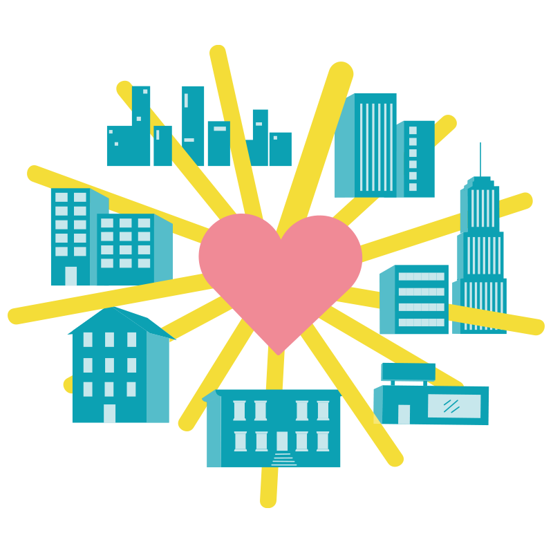 A big pink heart in the center with bright yellow lines that shine through multiple buildings in a city skyline view
