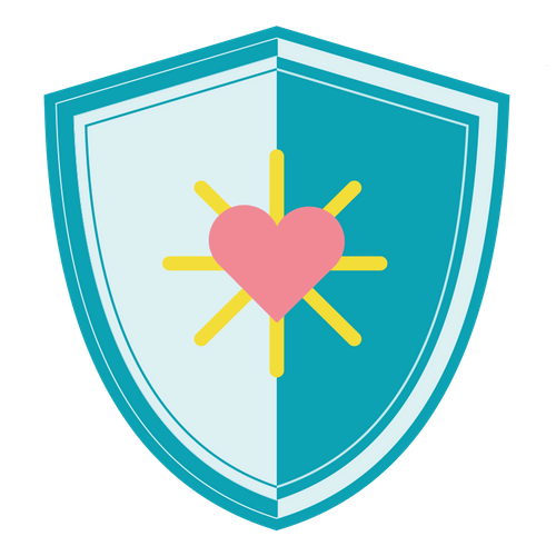 An illustrated blue shield with a pink heart in the center.