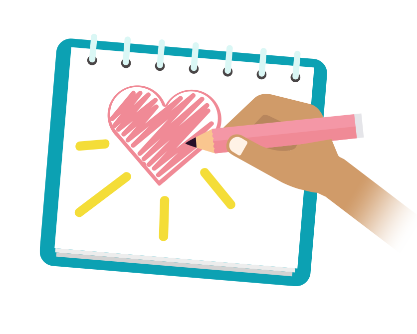 A hand drawing a pink heart in a notebook