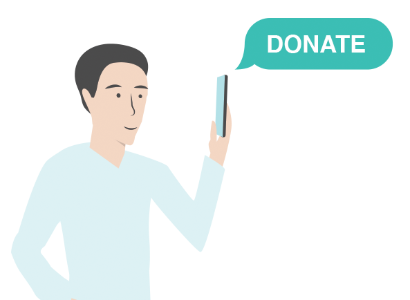 Illustration of a man donating to a nonprofit with his cell phone.