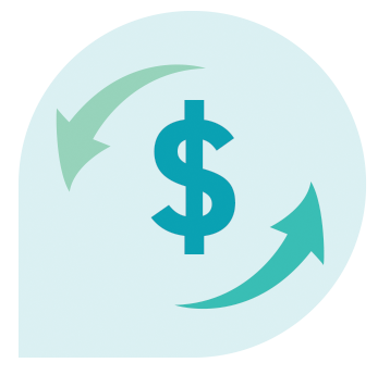 Dollar sign symbol surrounded by arrows indicating money processing.