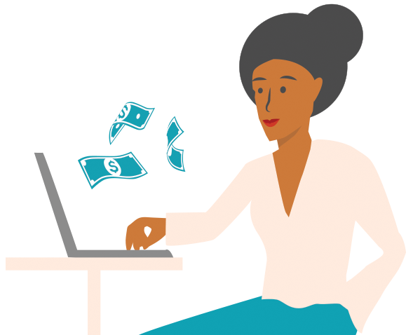 A woman working at a nonprofit receives donation funds while sitting at a computer.