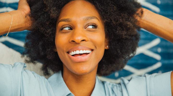 Lifestyle photo of woman smiling