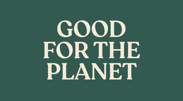 Designed Text card section: Good for the planet
