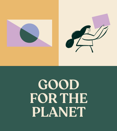 3 block section containing an image of the Alltrue flag, an illustration, and a text card: Good for the planet