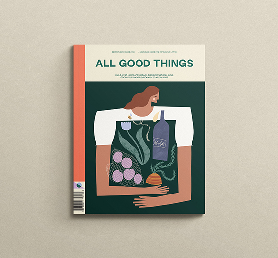 All Good Things Magazine cover staged on green background