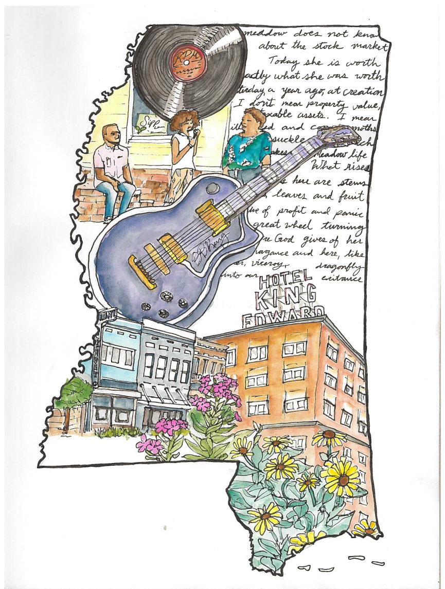 A tribute to Rural Gen and Jackson, MS in watercolor and pen