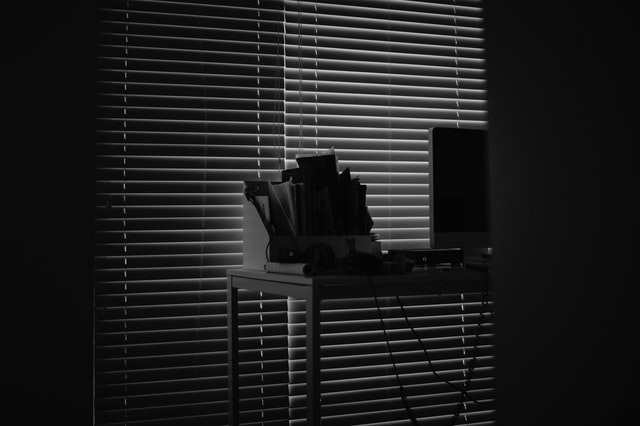 Computer, desk and files