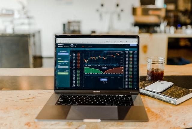 Laptop showing stocks