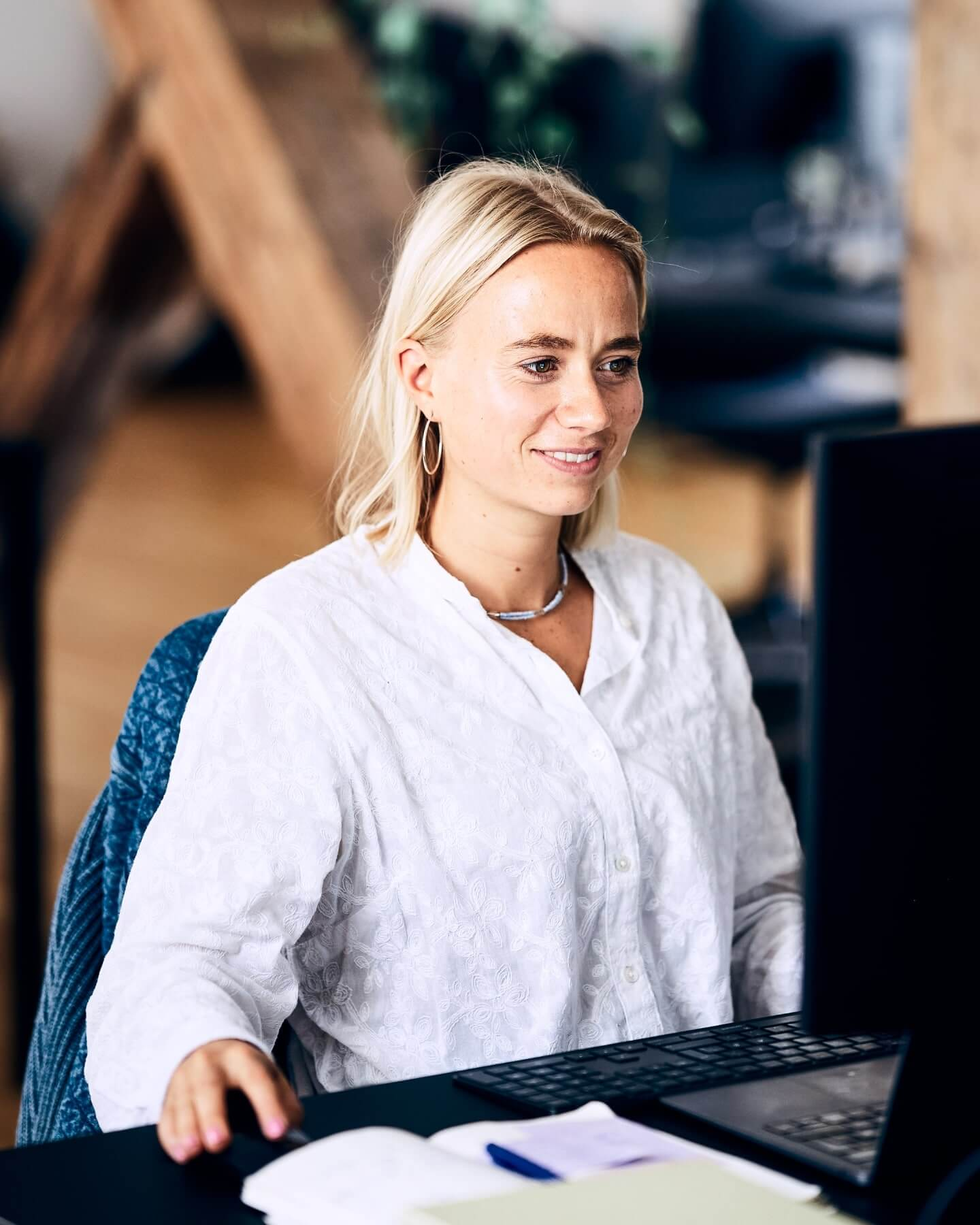 Employee at her desk