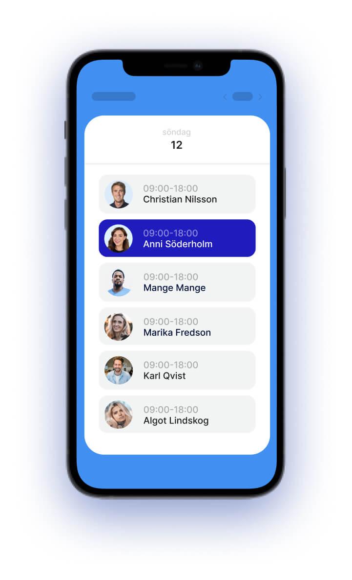 Caspeco personal app. Ger full kontroll för personalen att t.ex. söka pass.