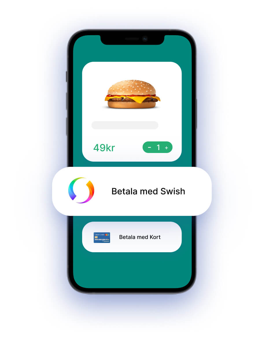 Bokningssystem gränssnitt där kunden kan välja betala med Swish eller med kort