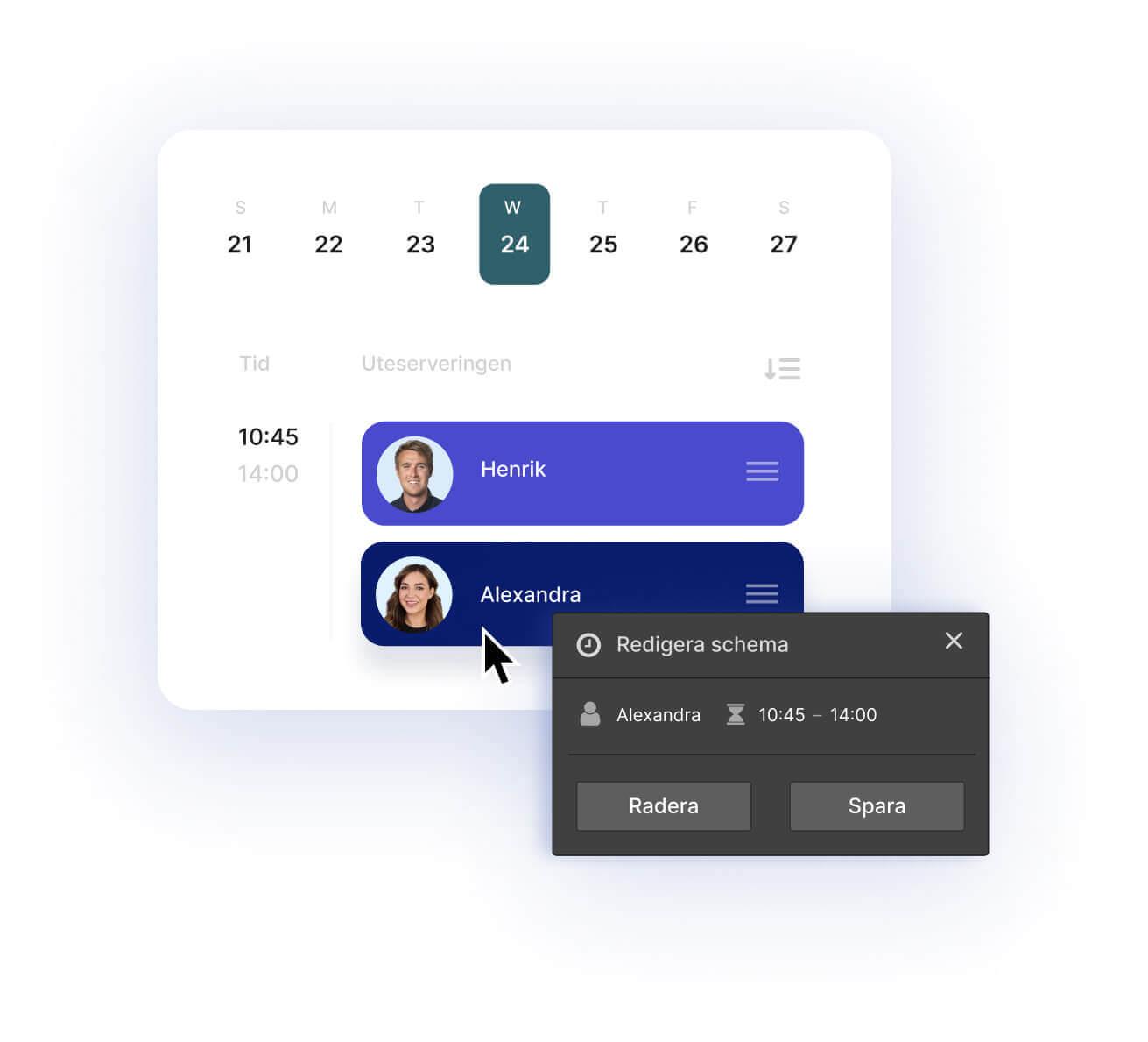 Gränssnitt (UI) från personalsystem. Enkelt skapa scheman för personalen.