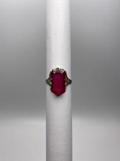 Ornate Gold & Deep Pink Stone