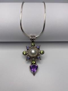 Sterling Silver necklace multi color stone pendant