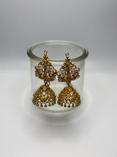 Indian Gold Earring w/14 accent stones