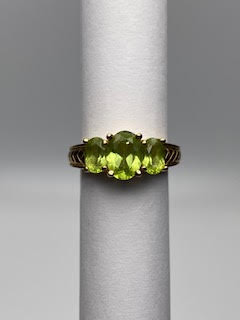 Gold Ring w/3 Lime green peridot Oval Stones