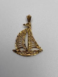 Gold Sailboat Pendant