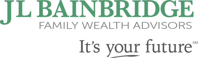 J.L. Bainbridge logo, which is forest green. Underneath, it says Family Wealth Advisors, then the company's tagline: It's your future.