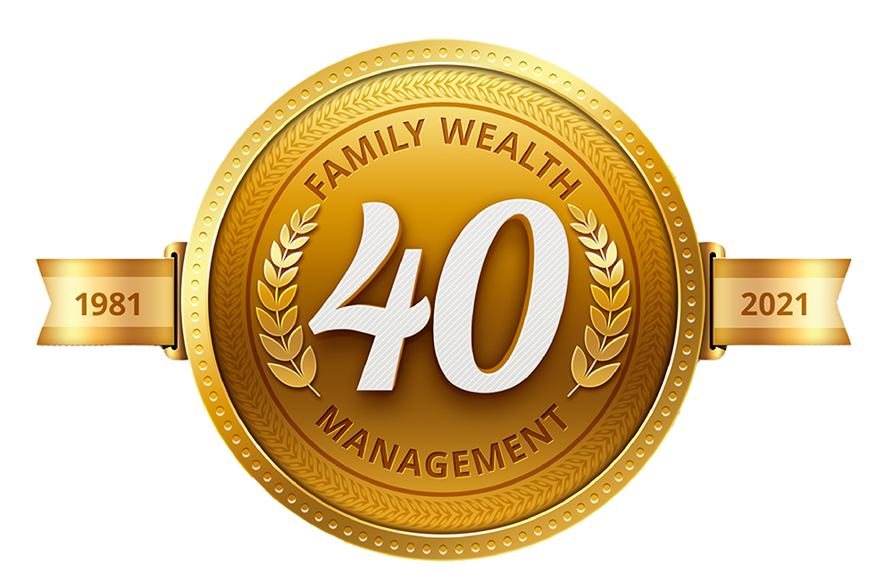 A golden emblem celebrating 40 years in business for J.L. Bainbridge, from 1981 to 2021. It also says Family Wealth Management.