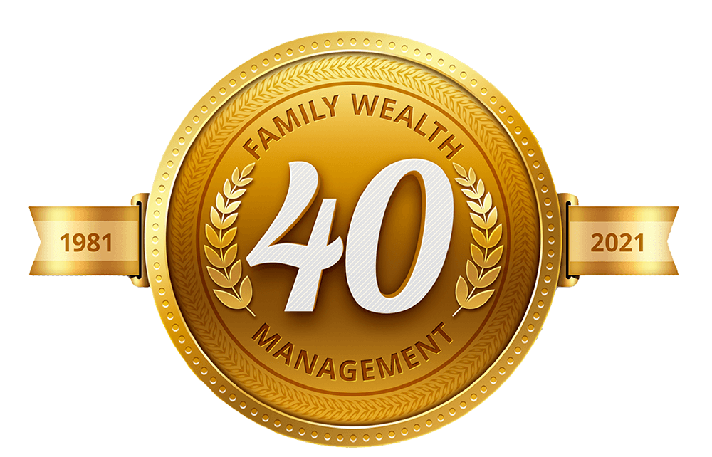 Gold shield emblem with Family Wealth Managers and 1981 to 2021 written on it.