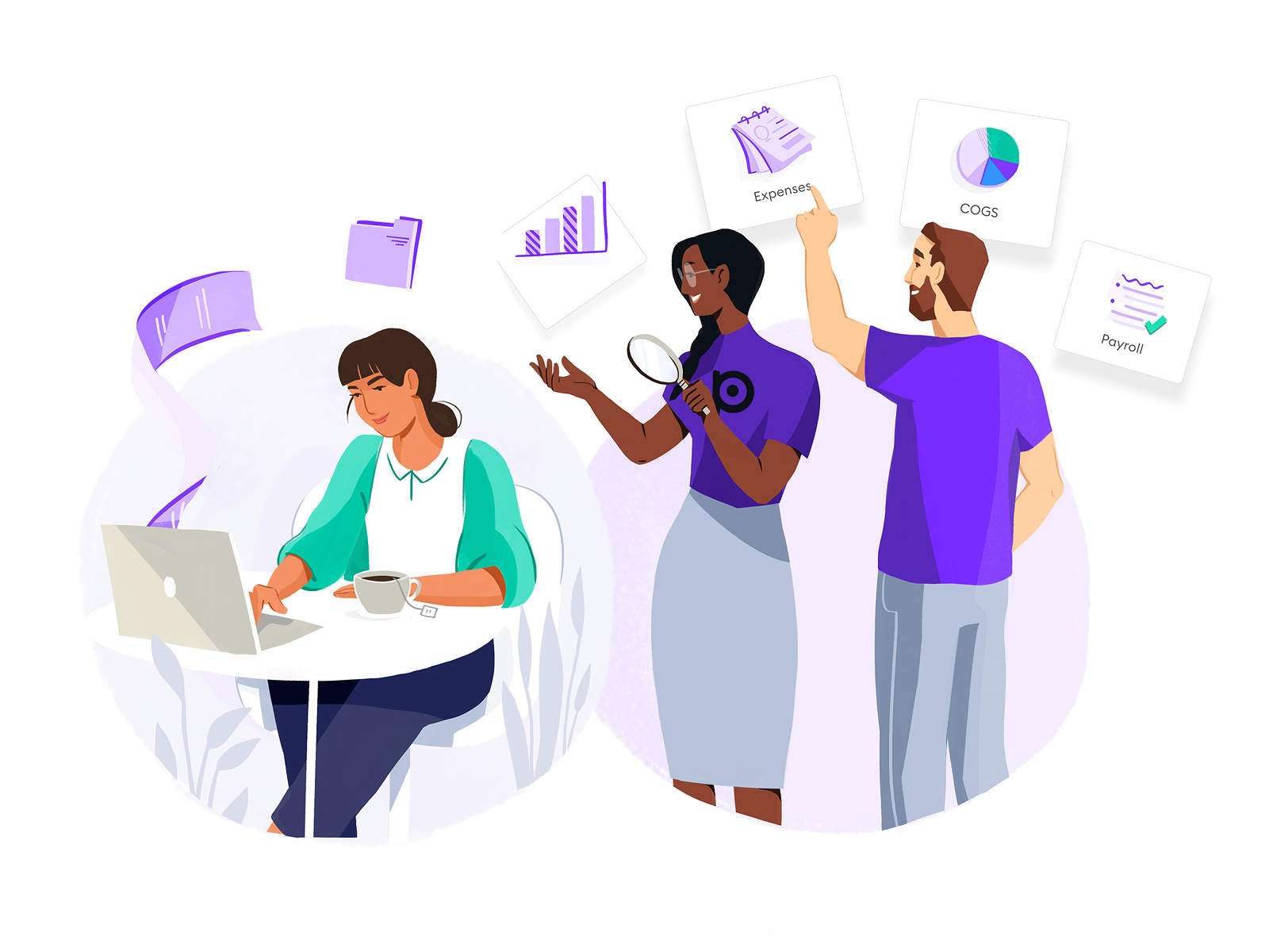 Illustration showing teammates performing finance tasks.
