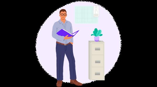 Illustration of man in office
